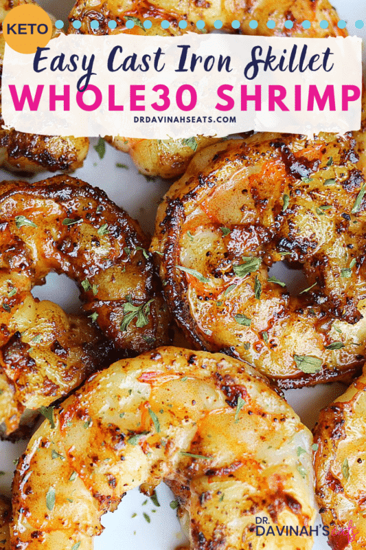 Pinterest image for Easy Whole30 Cast Iron Shrimp