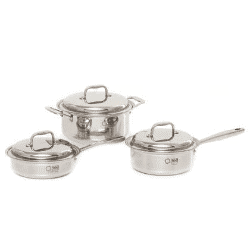 An image of three 360 Cookware Stainless steel pots