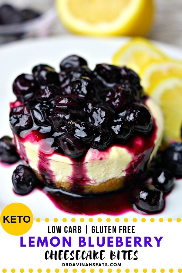 A Pinterest Image for Keto Lemon Blueberry Cheesecake Bites