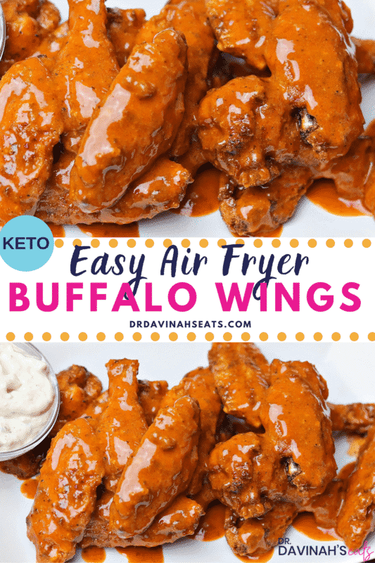 Pinterest Image for Air Fryer Buffalo Wings