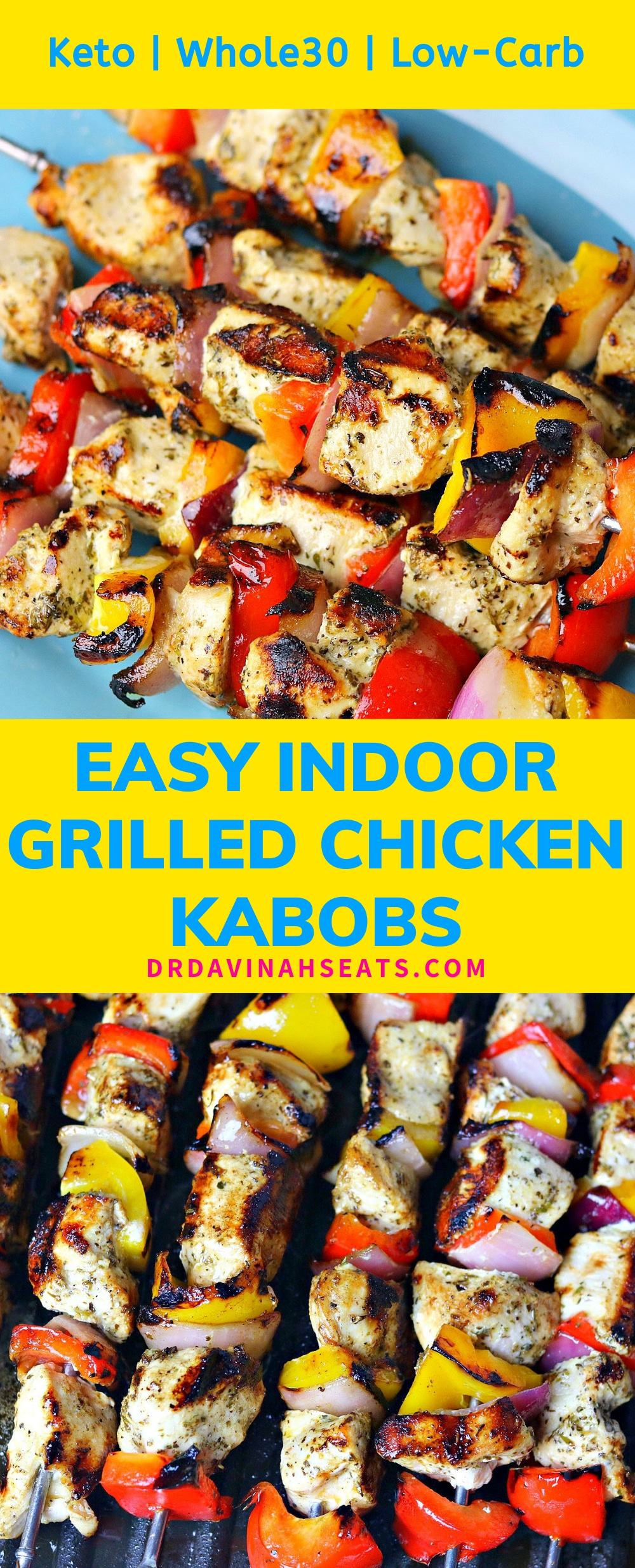 A Pinterest image for easy grilled chicken kabobs