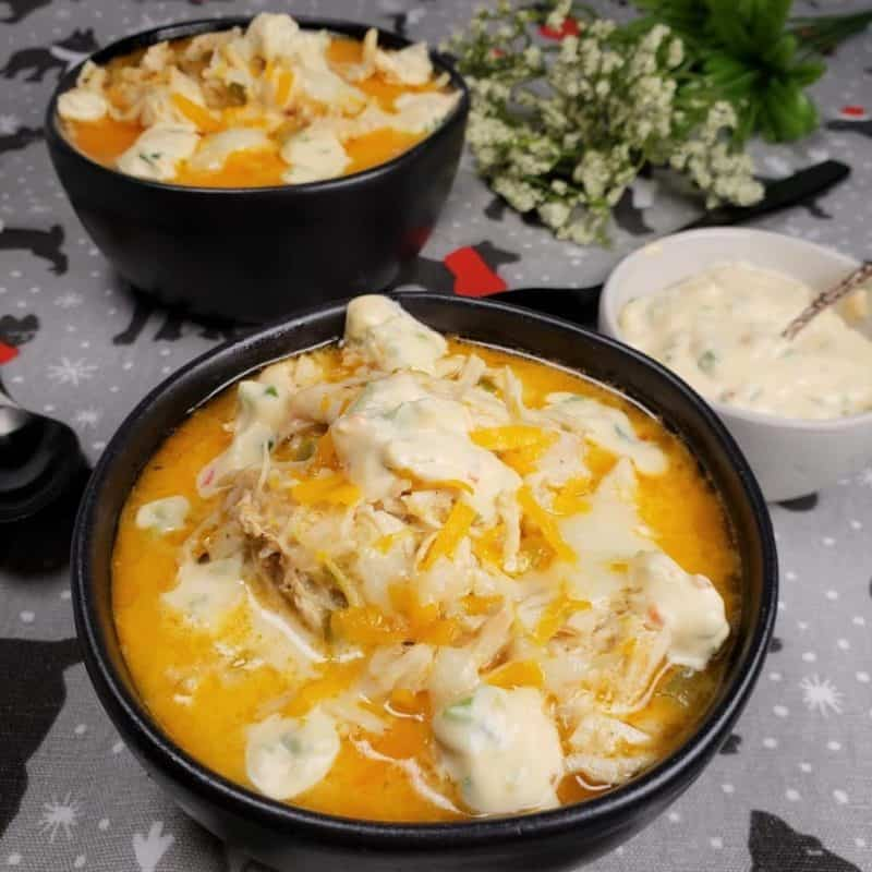 Two bowls of Instant Pot Chicken Jalapeno Popper Soup