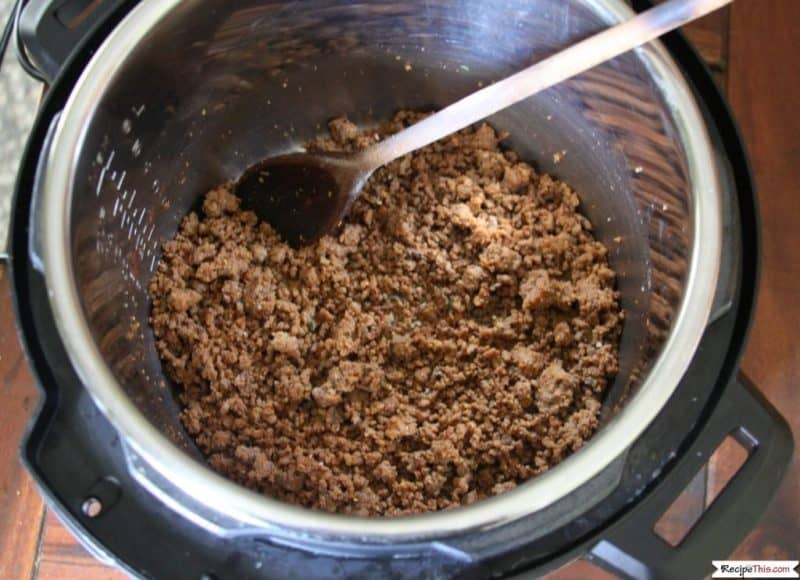 Pressure Cooker Frozen Taco Meat in the pressure cooker pot