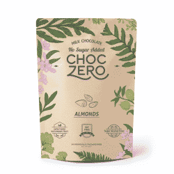 A close up of ChocZero brand keto bark in the almond flavor