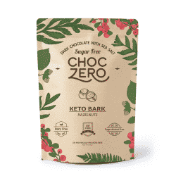 A close up of ChocZero brand keto bark in the hazelnut flavor