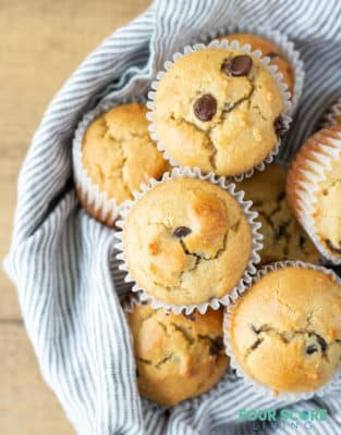 Low Carb chocolate chip muffins in a basket