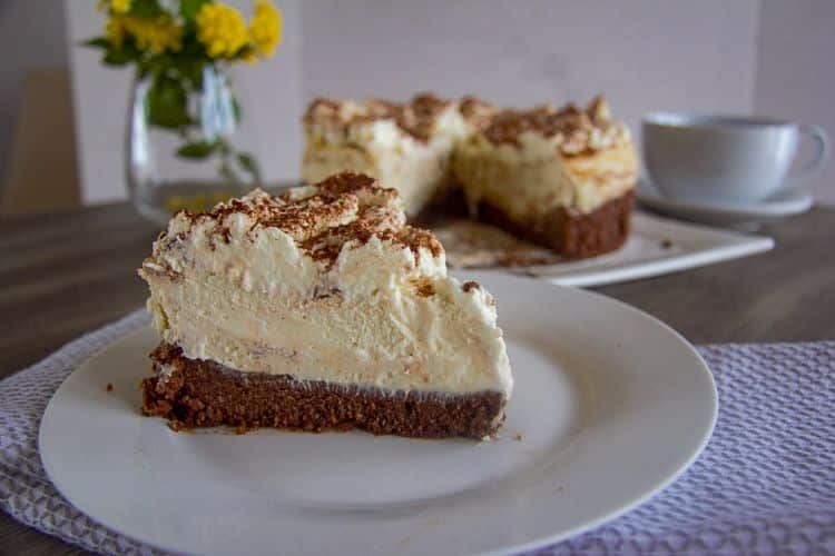 No sugar added Tiramisu Cheesecakes on a plate