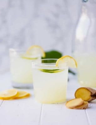 Ginger Lemonade in a glass cup