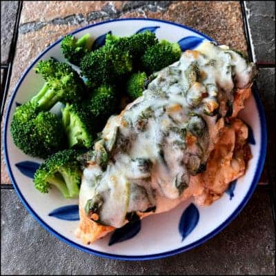 Cheesy Chicken Spinach with broccoli on a plate