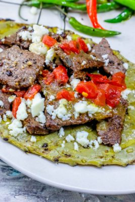 low carb grilled Cactus and Steak Tacos on a plate