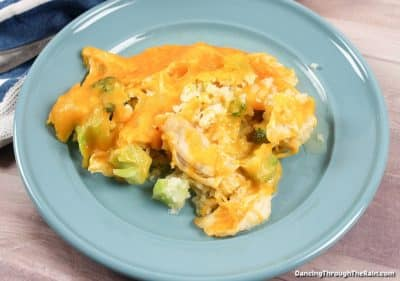 Chicken and Broccoli Casserole on a blue plate