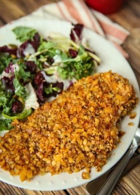Crusted Keto chicken with a salad on a white plate