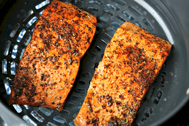 Foodi Air Fryer Salmon in the crisping pan