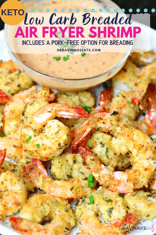 Pinterest image for Air Fried Coconut Shrimp