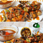 pinterest image for keto bbq chicken kabobs with cola bbq sauce
