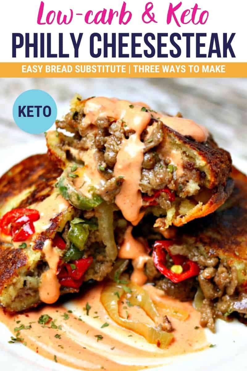 pinterest image that says low carb and keto Philly cheesesteak