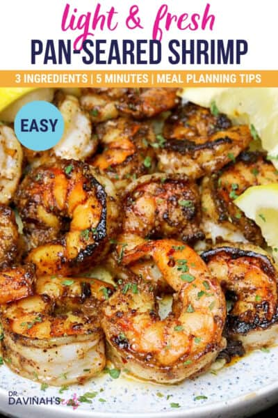 pinterest pin for pan-seared shrimp