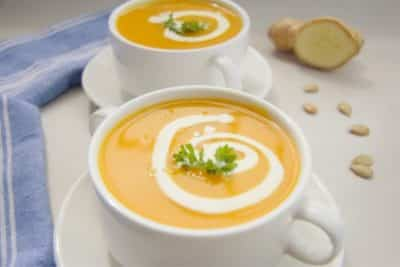 Two bowls of pumpkin ginger low carb soup