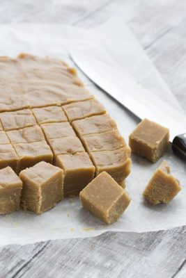 Cubed pieces of Low Carb Peanut Butter Fudge