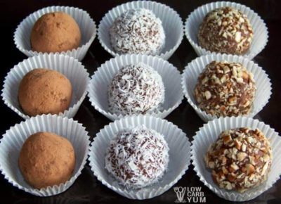 A collection of nine Keto candy cream cheese truffles