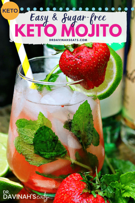 Pinterest image for Strawberry Keto Mojito