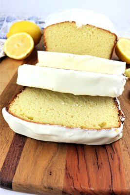 Keto lemon pound cake with cascading slices