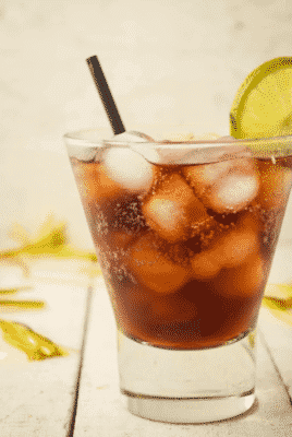 Keto-friendly Rum and Coke cocktail