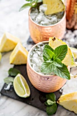 Pineapple Moscow Mule Low Carb Cocktail in a cup