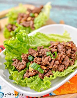 Keto Asian Lettuce Wraps using Ground Beef on a plate