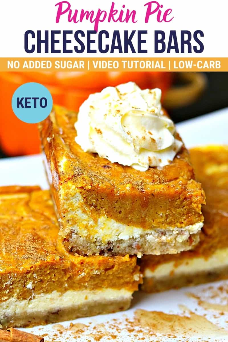 pinterest image for keto pumpkin pie cheesecake bars