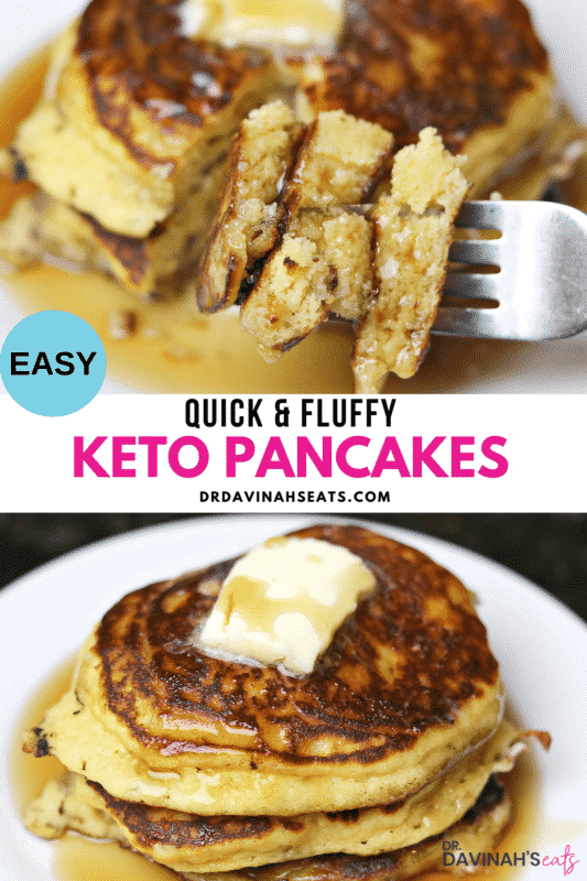 Pinterest image for quick & fluffy Keto Pancakes