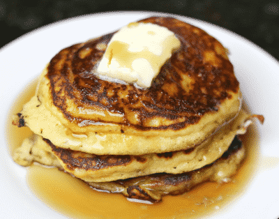 Keto Pancakes stack with a pat of butter