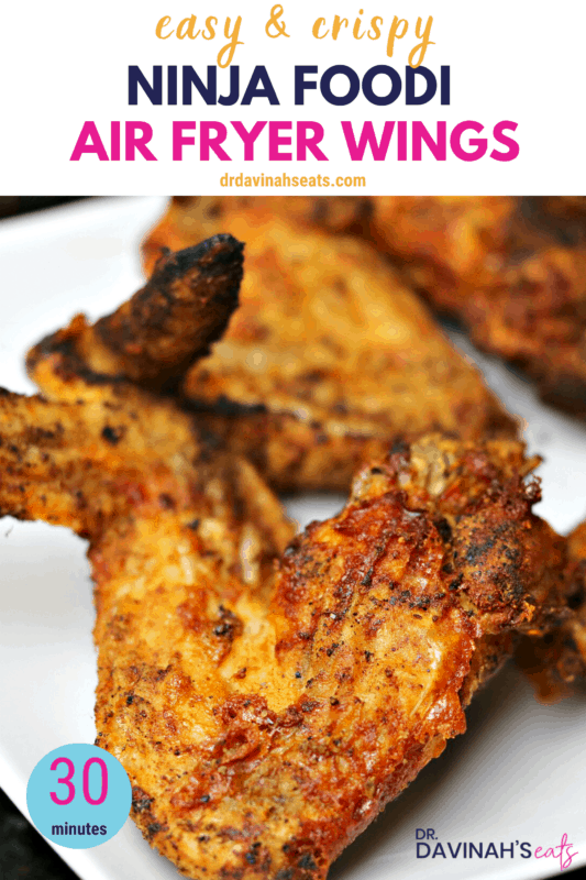 Pinterest image in air fryer fried wings