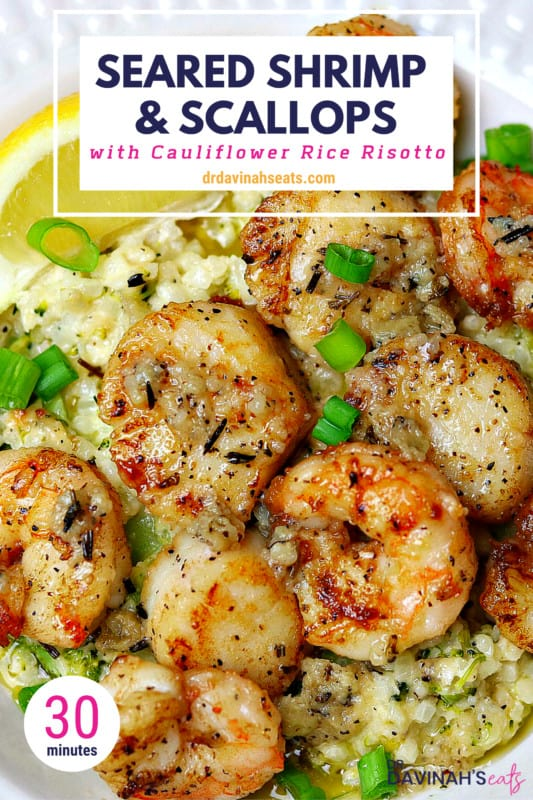 Seared Shrimp & Scallops with Cauliflower Rice Risotto Pinterest image