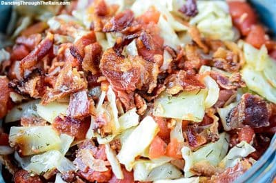 Tomato, Bacon And Cabbage Sauté in a bowl