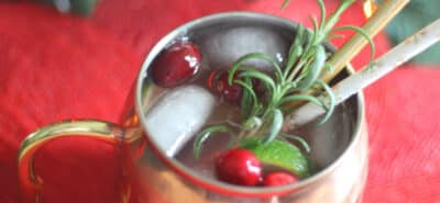 Keto Cranberry Moscow Mule in a cup