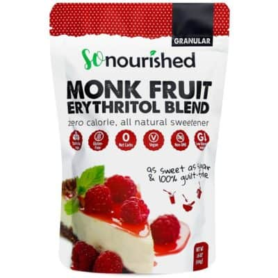 A bag of So Nourished Monk Fruit Erythritol Blend Sweetener