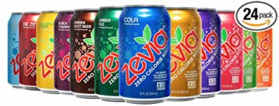 An assortment of cans of Zevia soft drink in a variety of flavors