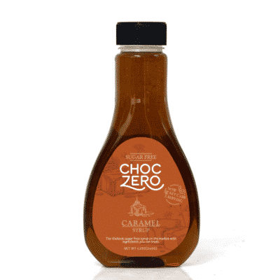 A bottle of ChocZero Sugar Free Caramel Syrup