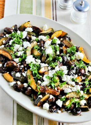 Roasted Zucchini, Mushrooms, & Feta On Serving Platter