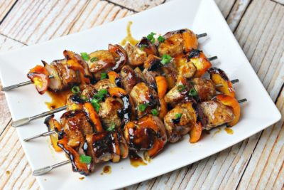 A plate full of delicious looking Teriyaki Chicken Kabobs