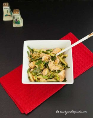 Chinese Chicken Zoodle Salad in a bowl, ready to eat