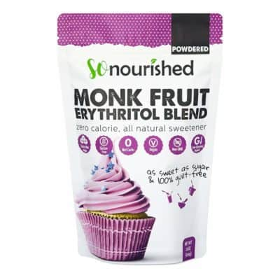 A bag of So Nourished Powdered Monk Fruit Erythritol Blend