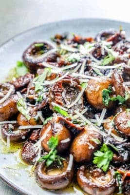 Steak House Style Tuscan Mushrooms On A Plate