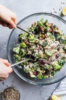 Mediterranean Broccoli Salad In A Bowl
