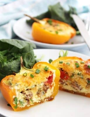 Breakfast Stuffed Peppers on a white plate