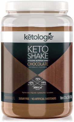 A jar of Keto Chocolate Shake mix