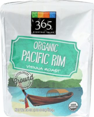 A bag of organic dark roast coffee