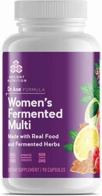 A bottle of Women's Fermented Digestive Support Supplement