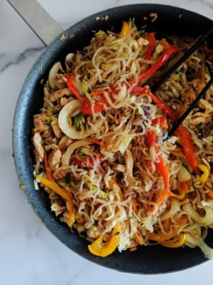 A skillet filled with Keto Lo Mein looking ready to eat